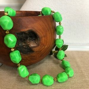 "Vintage ""Grinch Green"" Hong Kong Beaded Necklace"